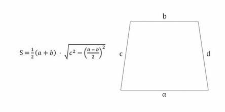 формула для площади равнобедренной трапеции