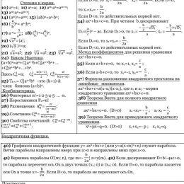 Формулы по математике для ЕГЭ и ОГЭ